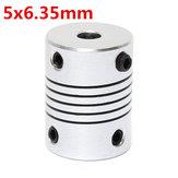 5mm x 6.35mm Aluminum Flexible Shaft Coupling OD19mm x L25mm CNC Stepper Motor Coupler Connector