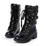 Motocicleta Botas Mujer Cool Goth Punk Tobillo Militar con cordones Negro