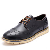 Mannen Mode Brogue Schoenen Lace-up Round Toe Britse Oxfords