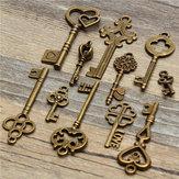 11pcs chave de esqueleto olhar coração pingente set velho vintage antigo arco bloqueio steampunk