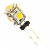 Car G4 5 LED SMD 5050 Warm White light Bulb Lamp DC 12V