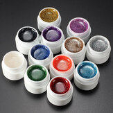12 Colors Nail Art False French Glitter UV Gel Builder Polish Set