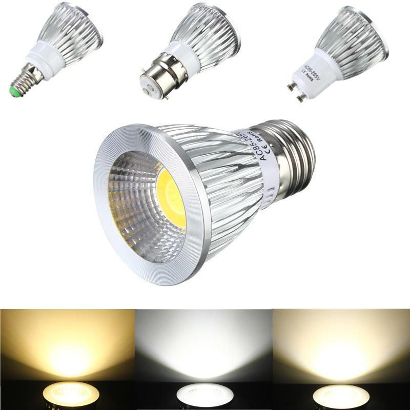 E27/GU10/E14/B22 6W COB LED Dimmable Down Light Bulbs Spot Lightt AC 85V-265V