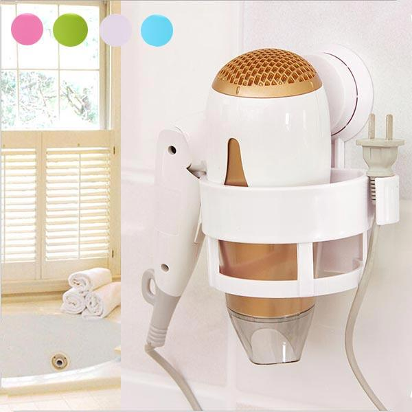 Plastic Bath Hair Dryer Holder Wall Mounted Fixed Stand With Sucker 4 Colors