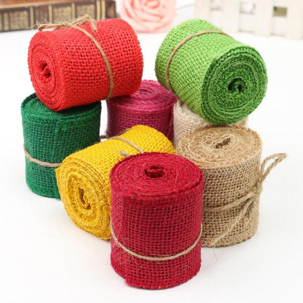 2m Colorful Natural Jute Hessian Burlap Ribbon Sewing Craft Wedding Christmas Gift Decoration