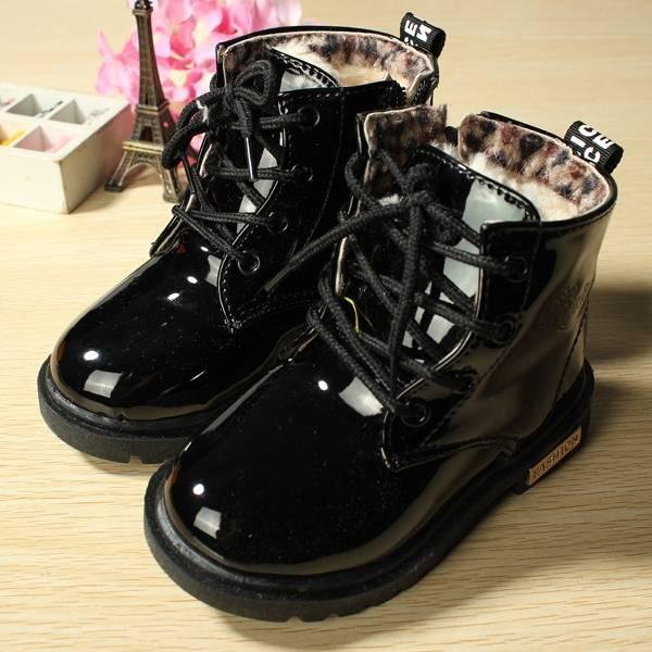 Niños del bebé martin zapatos de cuero botas de nieve de caramelo de piel