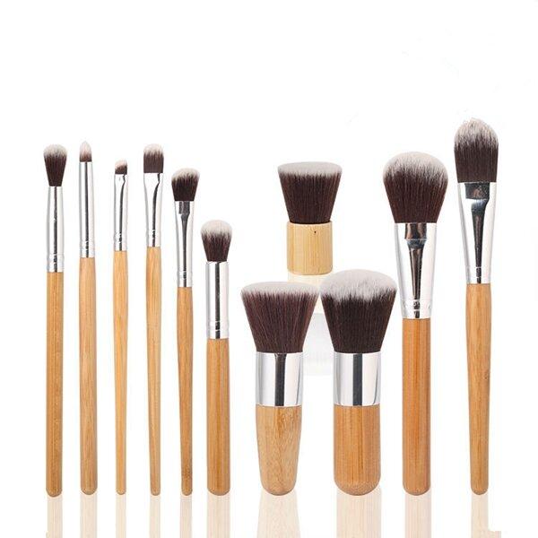 MAANGE 11 Pcs Bamboo Handle Makeup Eyeshadow Blush Concealer Brush Set