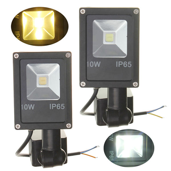12V 10W PIRモーションセンサーLEDフラッドライトIP65ウォーム/コールドホワイトライト