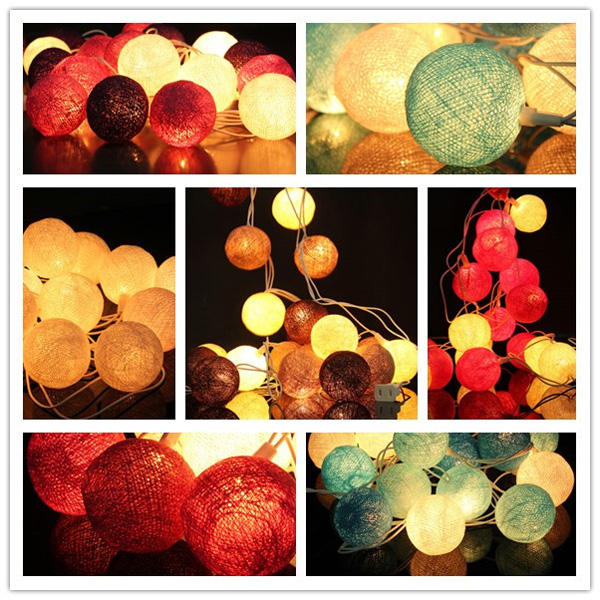 20 Cotton Ball Fairy String Lights Party Holiday Wedding Decor