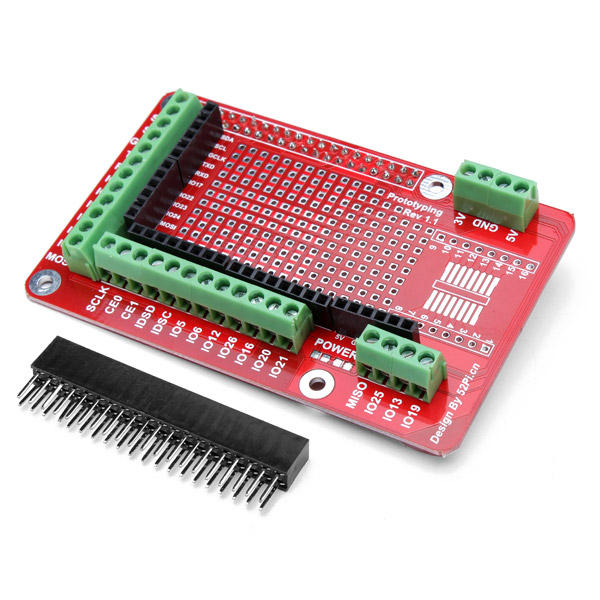 Prototyping Expansion Shield Board For Raspberry Pi 2 Model B & RPI B+