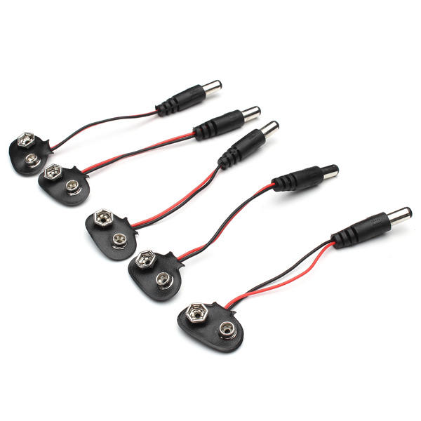 5pcs DC 9V Battery Button Power Cable Tieline For