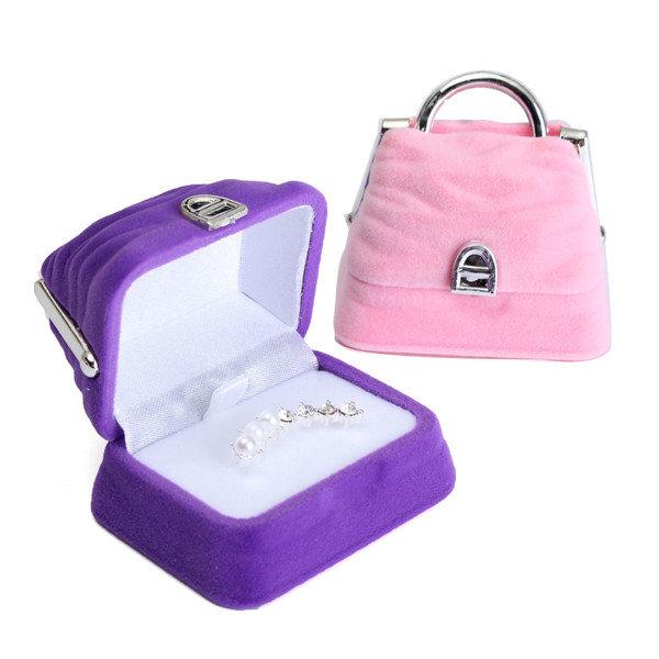 מיני קטיפה תכשיטים מחזיק עגיל טבעת תיק תיבת התיק