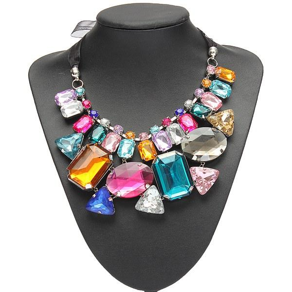 Luxury Colorful Big Crystal Statement Necklacee Ribbon Chain Necklacee