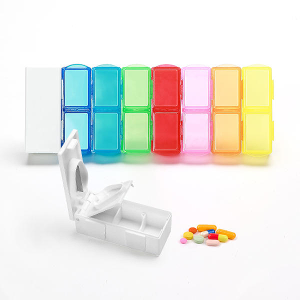 KCASA KC-JS0802 Portable 7 Days Pill Box Travel Medicine Organizer With Pill Splitter Cutter