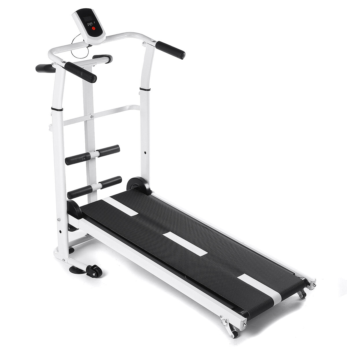 Folding Treadmill Mini Running Walking Jogging Machine with LCD Display Portability Wheels Max Load 150kg