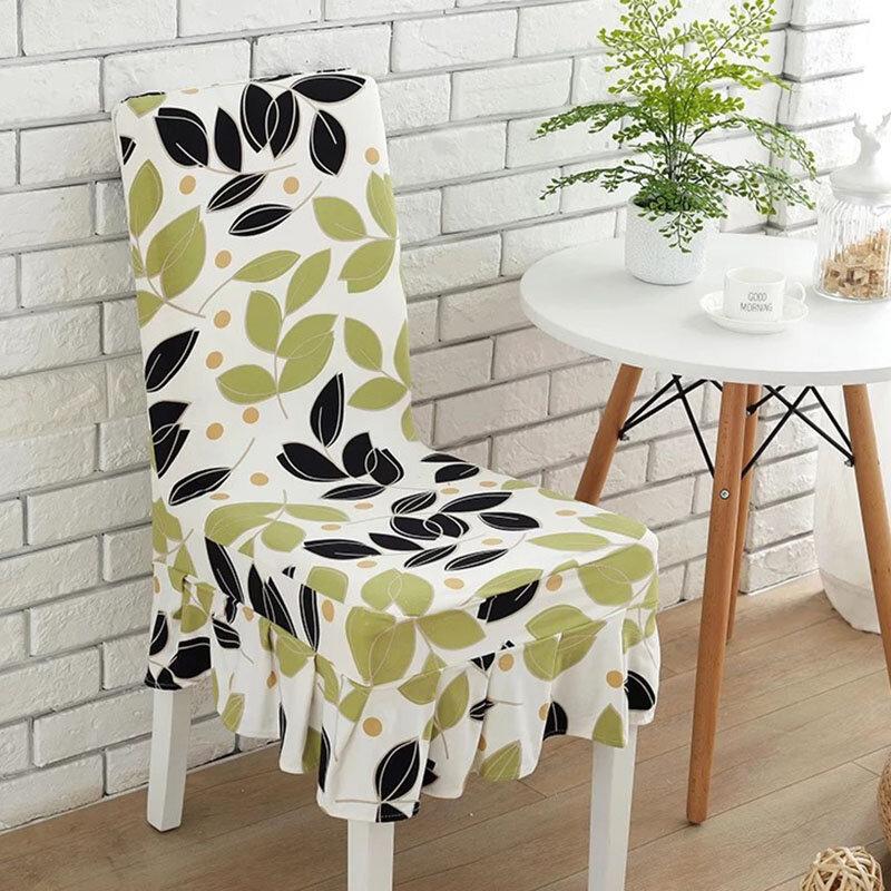 KCASA WX-PP5 Elegant Flower Elastic Stretch Chair Seat Cover com saia Hem Dining Room Home Wedding Decor
