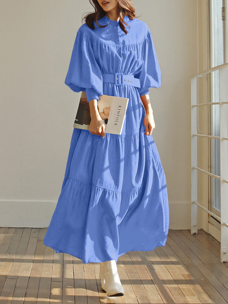 Solid Color Stand Collar Puff Sleeve Belted Pleated Shirt Maxi Dress