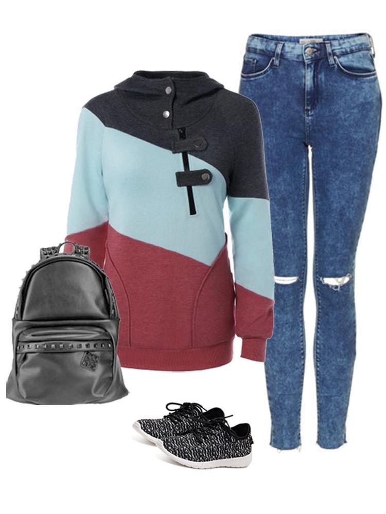 Casual Women Contrast Color Patchwork Zipper Hooded Sweatshirt