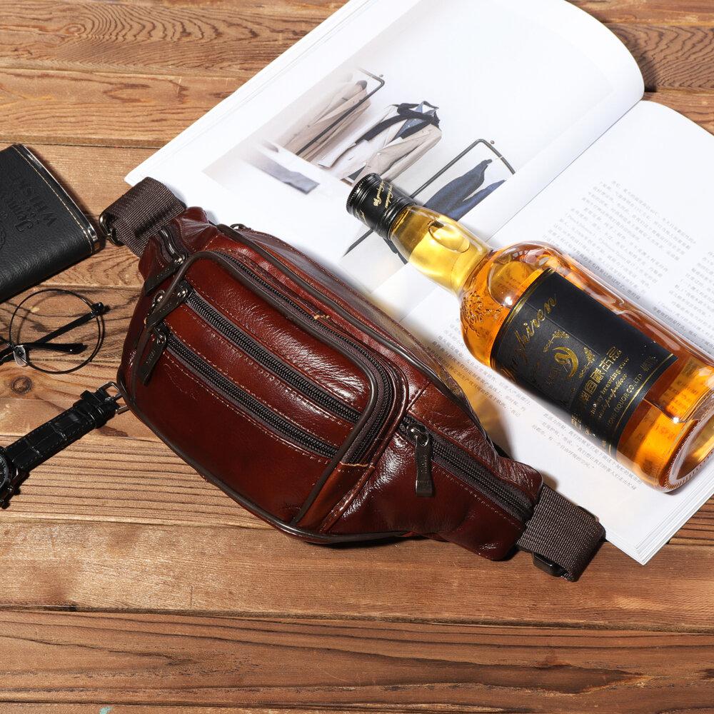 Men Genuine Leather Multi-function Large Capacity Waist Bag Chest Bag Crossbody Bag
