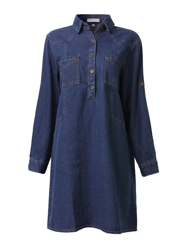 लूज महिला लैपल बटन पार्टी ठोस डेनिम मिनी शर्ट ड्रेस