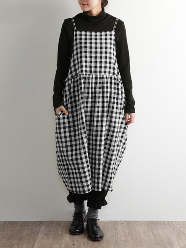 Plus Size Vintage Plaid Spaghetti Straps Women Dress