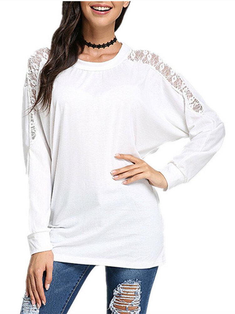 सेक्सी महिला बैट आस्तीन पैचवर्क फीता लूज टी शर्ट