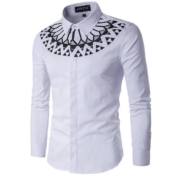 फैशन प्रिंटिंग स्लिम फ़िट लंबी आस्तीन पुरुषों सफेद शर्ट प्लस आकार एक्सएस -3XL