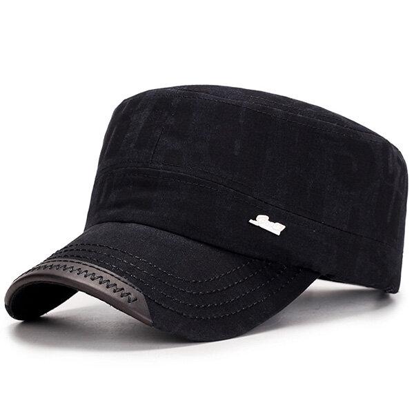 Mens Katoen Zonnescherm Flat Top Hat Letter Military Casual Baseball Cap