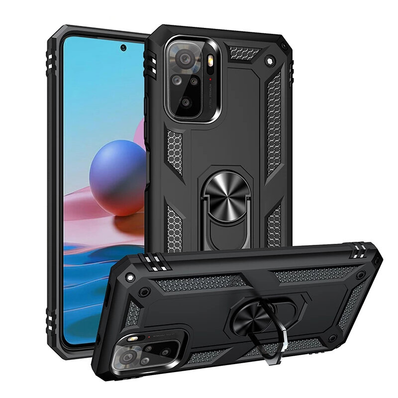 Bakeey for Xiaomi Redmi Note 10 4G/ Redmi Note 10S Case Armor Bumpers Shockproof Magnetic with 360 Rotation Finger Ring