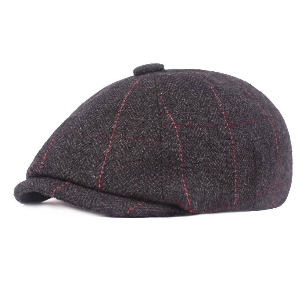 Men Casual Middle-Aged Stripe Felt Beret Hat Casual Windproof Flexible Octagon Newsboy Caps