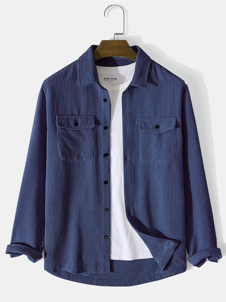 Mens Solid Double Pocket Corduroy Casual Long Sleeve Shirts
