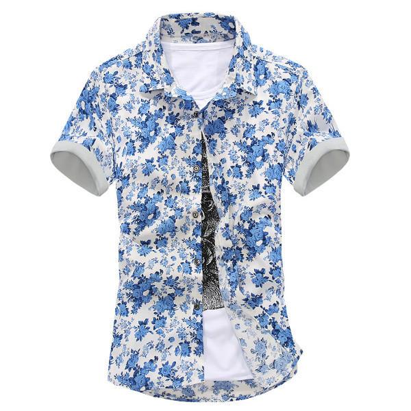 Sommar herr Casual Slim Fit Kortärmad T-shirt Fashion Flower Printed Shirt