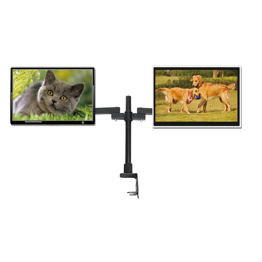 Dual Arms Monitor Bracket Monitor Mount Desktop Computer Stand 360 Degrees Rotating for 14- 27 inch Computer Monitor