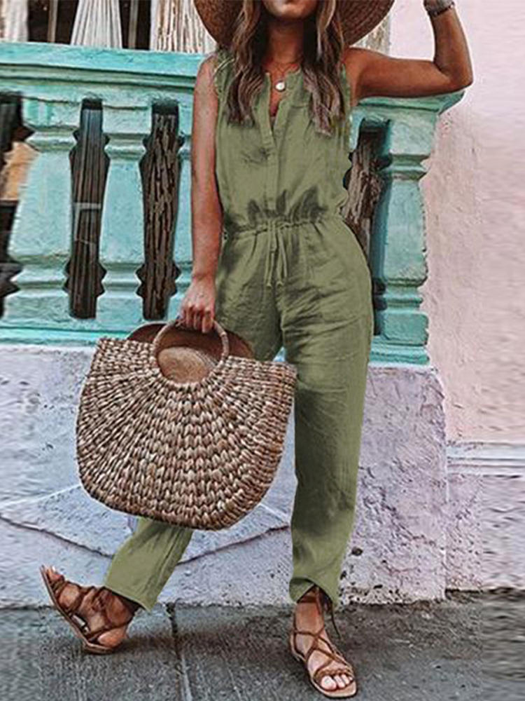 Sleeveless O-neck Drawstring Waist Casual Jumpsuit