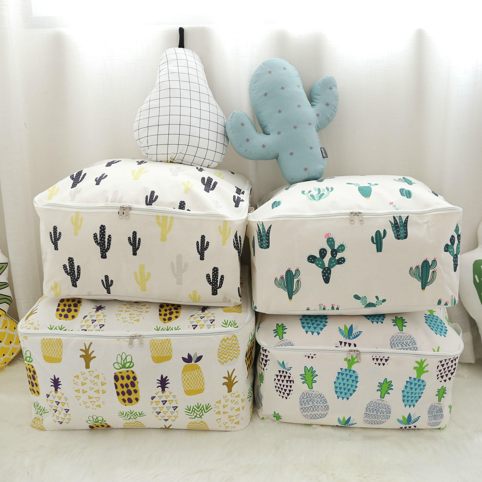 Honana Signature Cotton Storage Bag Portable Folding Organizer Quilt Pouch Washable Container Anese Style