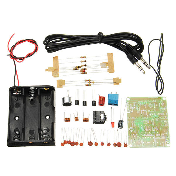 EQKIT® FM Transmitter Kit RF-02 Wireless Microphone Parts MP3 Repeater  Micro Transmitter With Antenna Battery Holder