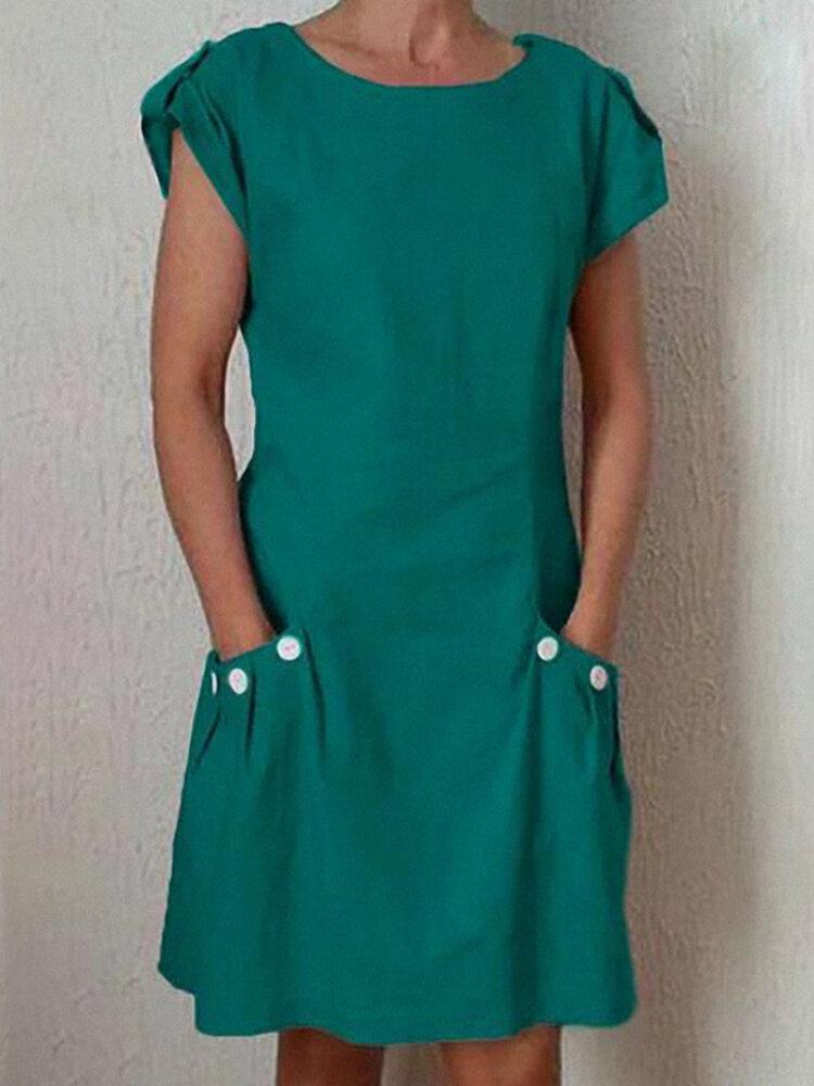 Solid Color Short Sleeve Pockets Buttoned-decor Linen Dress