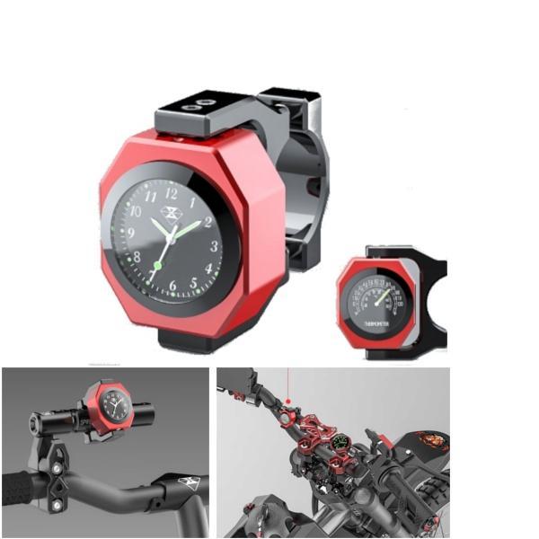 22-28mm Motorcycle Clock+Thermometer Luminous Waterproof Handlebar Mount, Banggood  - buy with discount