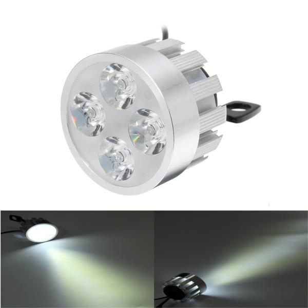 10V-85V DC 12W LED Light Motorcycle Scooter Bicycle Rear View Mirror Lamp Handlebar Silver