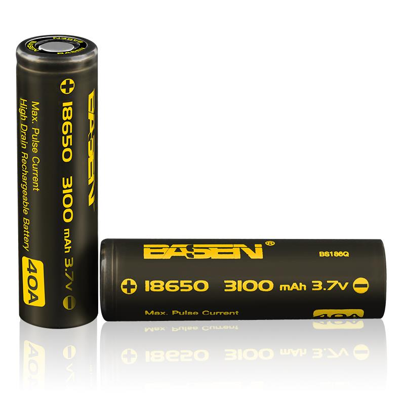 2pcs Basen BS186Q 18650 3100mah 3.7V 40A High Drain Flat Top Rechargeable Li-ion Battery