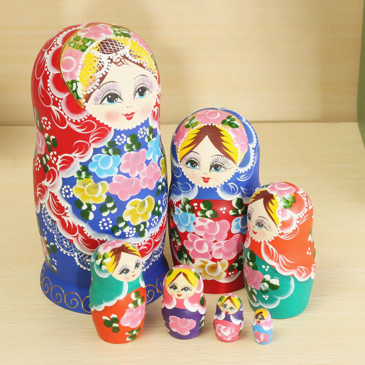 matryoshka set of 7 nesting dolls madness russian wooden dolls toy