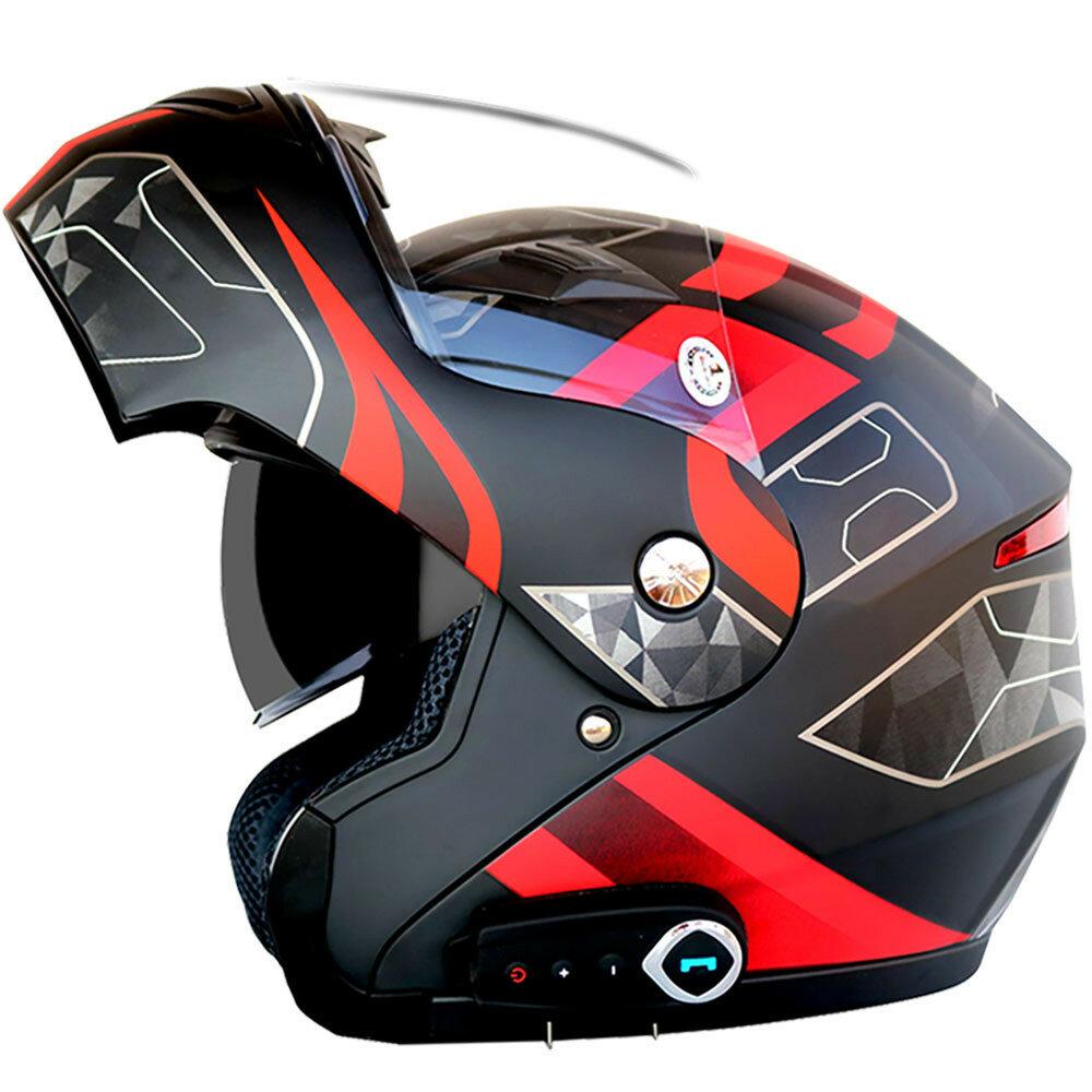 ब्लूटूथ संगीत एफएम डबल Visors हटाने योग्य के साथ पनरोक मोटरसाइकिल पूर्ण चेहरा हेलमेट