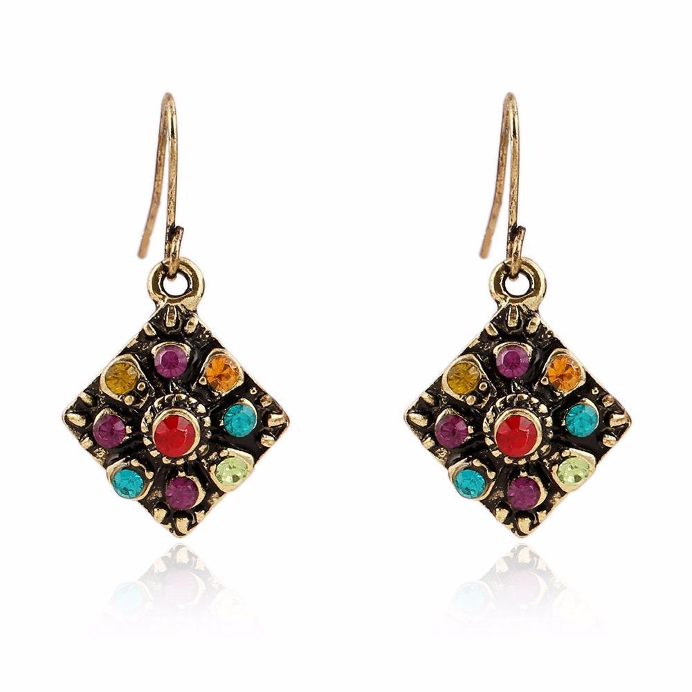 Bohemio Colorful Diamante Oreja Drop Square Alloy Rhinestone Orejaring Para Mujer