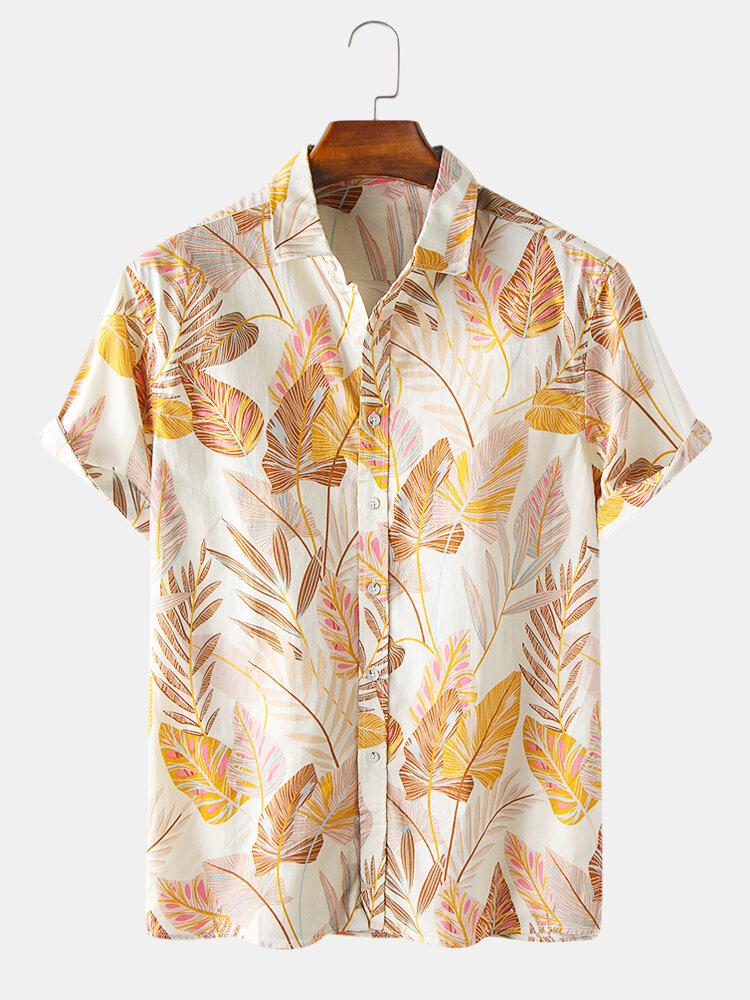 Mens Colorful Tropical Plant Leaves Print Faltkragen Kurzarm Hawaii Casual Shirts
