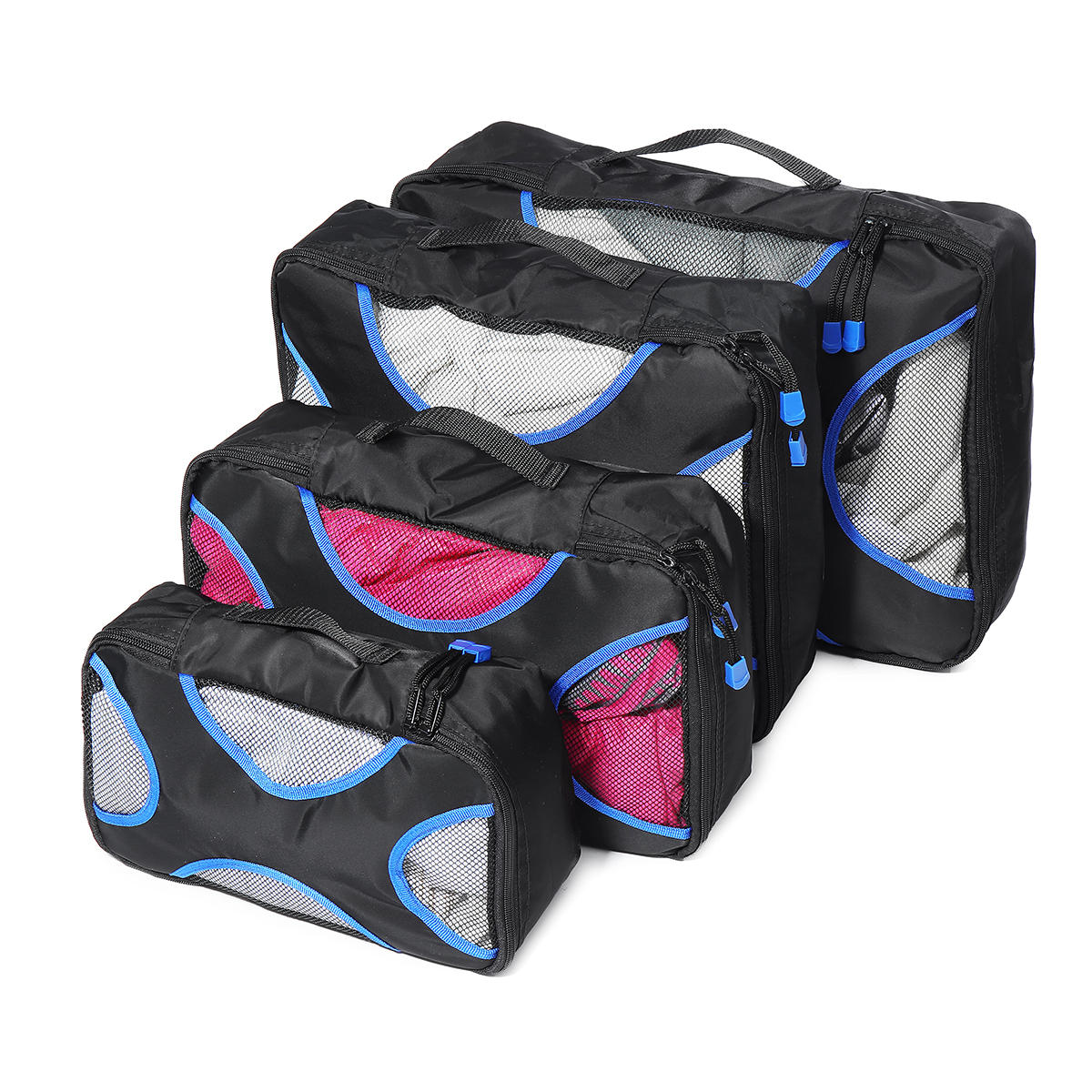 4Pcs/Set Outdoor Travel Packing Cubes Storage Bag Portable Zipper Clothes Luggage Organizer Packing Pouch