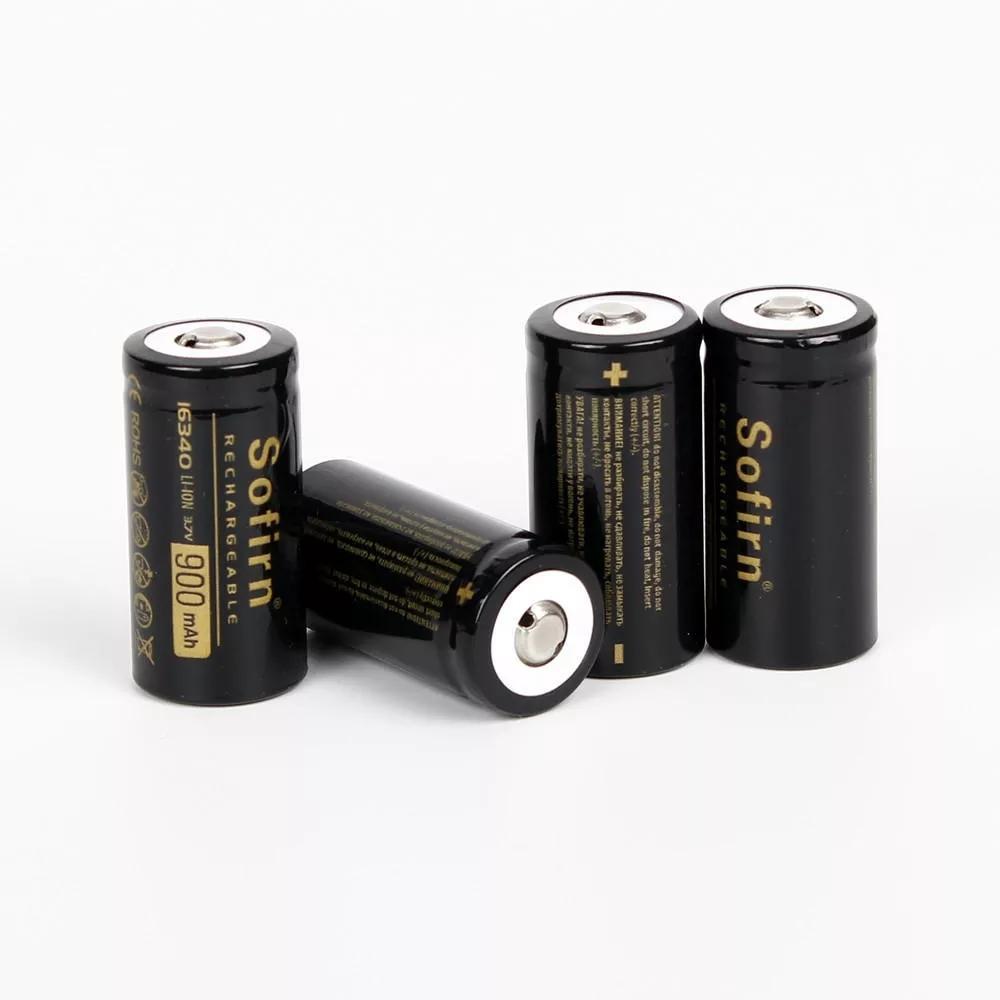 4本ソフィルン 3.7 v 900 mAh 16340バッテリーリチウムイオンバッテリー充電式バッテリーリチウムバッテリー