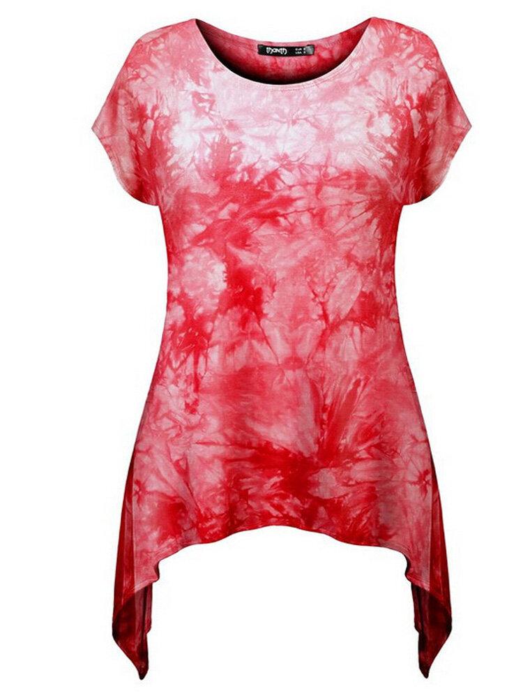महिला आरामदायक लघु आस्तीन ओ-गर्दन टी शर्ट अनियमित मुद्रण हेम टॉप