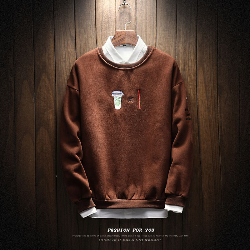 Men's Fashion Round Neck Embroidery Sweater Casual Long Sleeved Pullovers