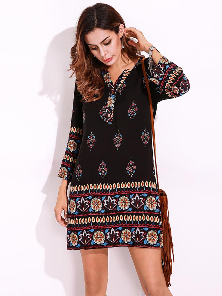 Plus Size Women Floral Printed Bohemian Mini Dress