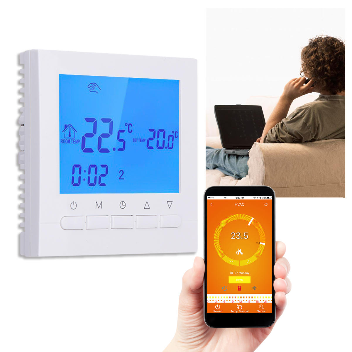WIFI LCD Wireless Smart Programmable Thermostat Underfloor Heating App  Control